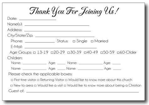church volunteer info registration card template 35 awesome visitor card images church