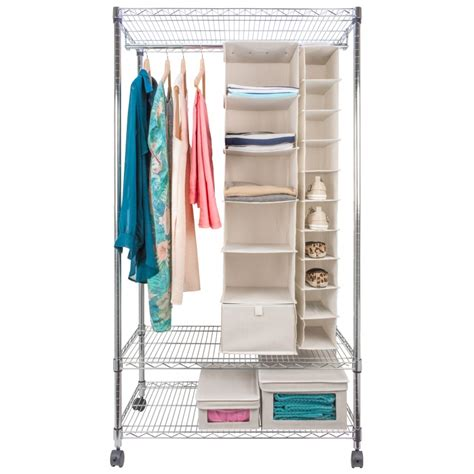 garment rack with shelves eurowire wardrobe with garment rack and shelves from