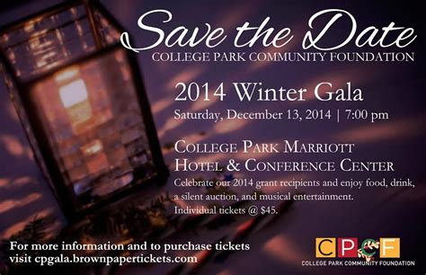 save the date winter gala 2014 college park community foundation