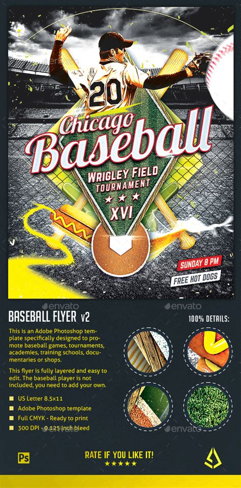 Baseball Nights Flyer Baseball Tournament Poster Template By Stormdesigns Baseball Flyer Template