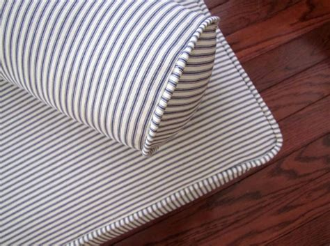 Decorative Mattress Cover by Piped Daybed Mattress Cover Blue Ticking Stripe Slipcover