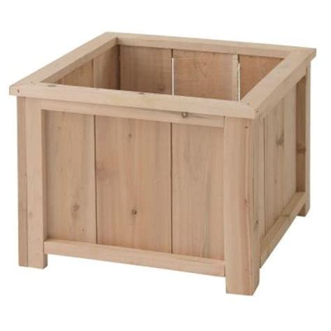 home depot wooden planters dmc 14 in square planter box usa cedar planter 87031 the home depot