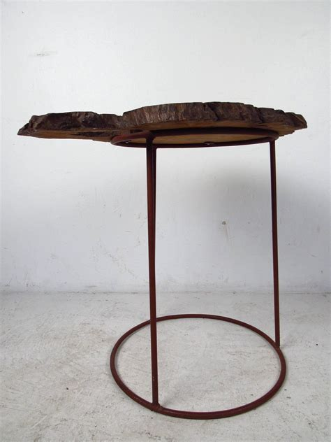 mid century modern free form tree slab side table for sale