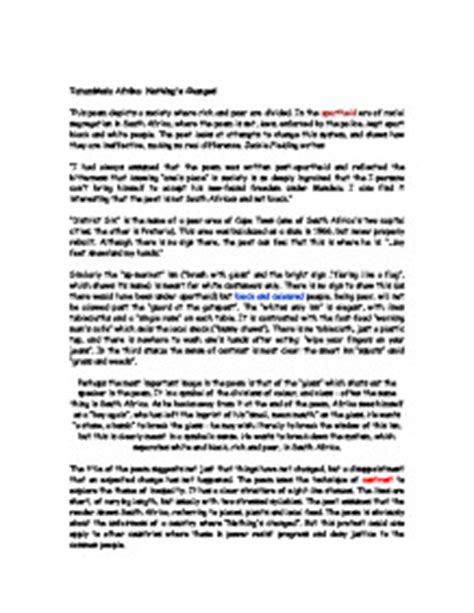 Nothings Changed Poem Essay by Nothing S Changed Essay