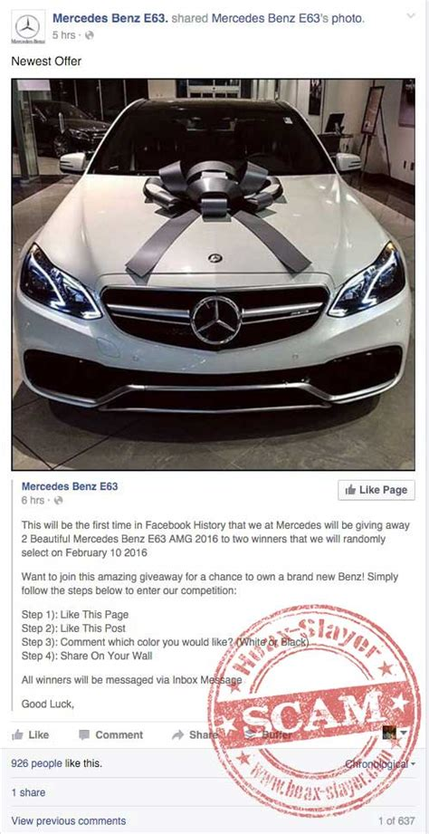 Facebook Giveaway Hoax - mercedes e63 facebook giveaway autos post