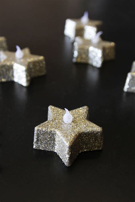 glitter star tea lights gold