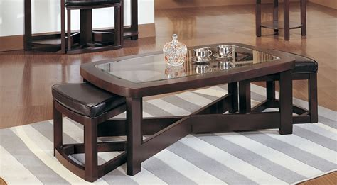 coffee table with chairs underneath decorative
