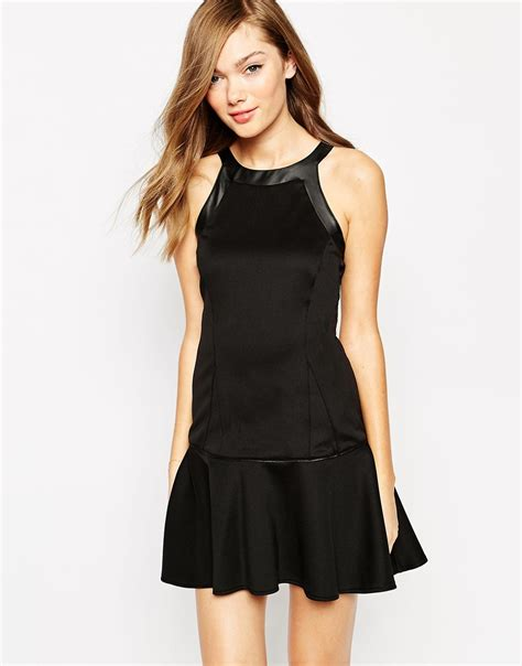 Yasmine Dress Black Lyst Boulee Yasmine Sleeveless Dress With Leather Look