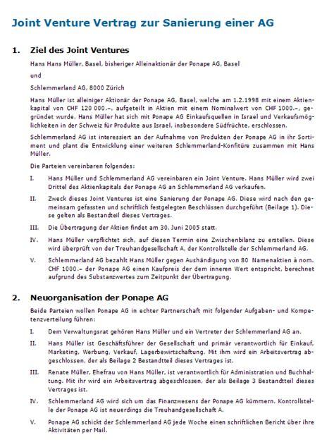Vertragsvorlagen Muster Muster Joint Venture Vertrag Vorlage Zum