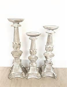 shabby chic french white candle holders set of 3 distressed