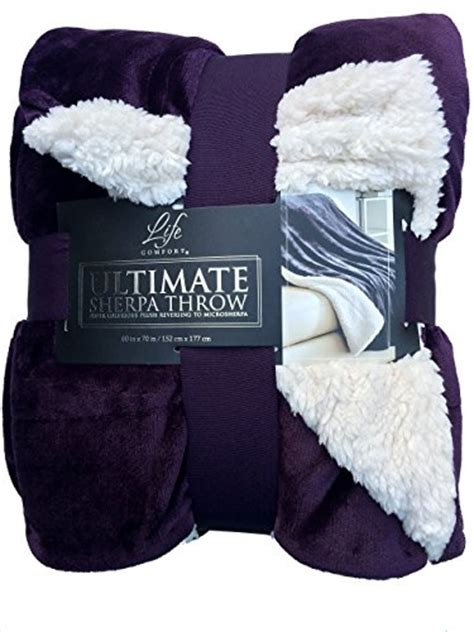 life comfort sherpa blanket life comfort ultimate sherpa throw blanket purple bnc