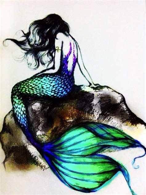 mermaid watercolor tattoo mermaid on rock search watercolor arts