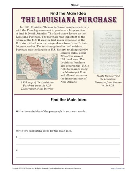 Idea Worksheets 5th Grade by 5th Grade Idea Worksheet About The Louisiana Purchase