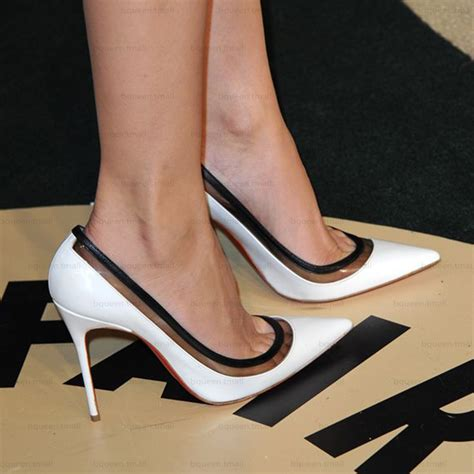 black and white high heels black and white bottom shoes