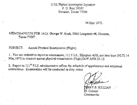 Hardship Letter National Guard Bush National Guard Documents