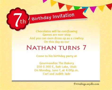 birthday invitation words 7th birthday invitation wording wordings and messages