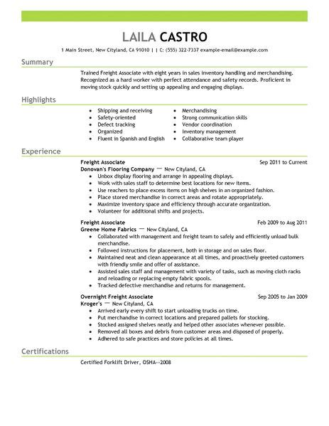 resume style sles best sales freight associate resume exle livecareer