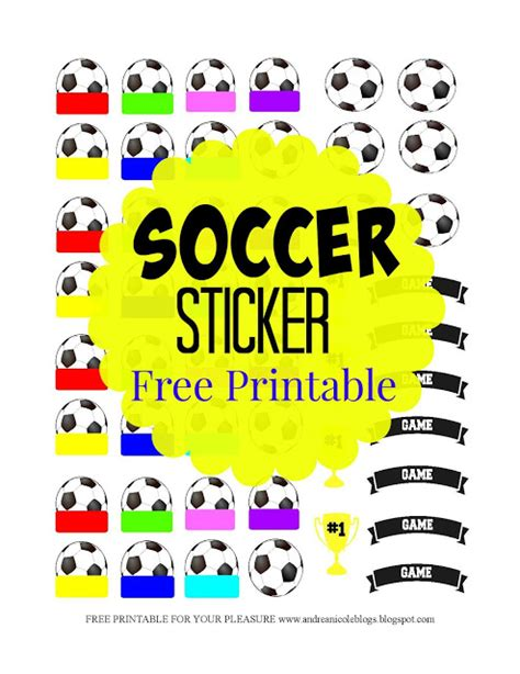printable soccer stickers andrea nicole free printable soccer games stickers
