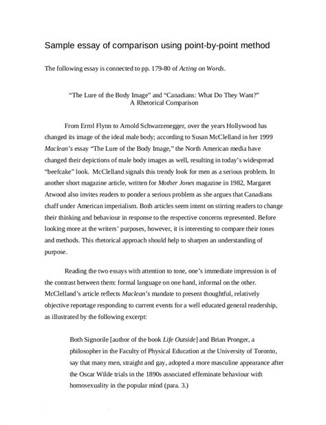 Similarities Essay by 9 Comparative Essay Sles Free Pdf Format
