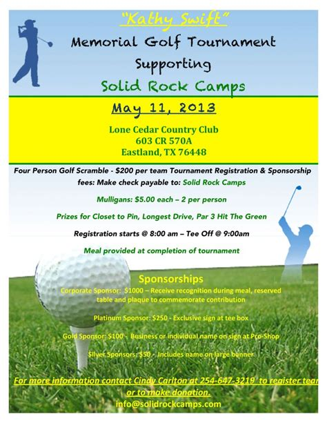 golf brochure template kathy memorial golf tournament may 11