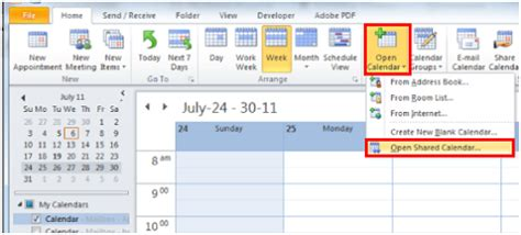 Shared Calendar Open A Shared Calendar Outlook 2010 And 2013