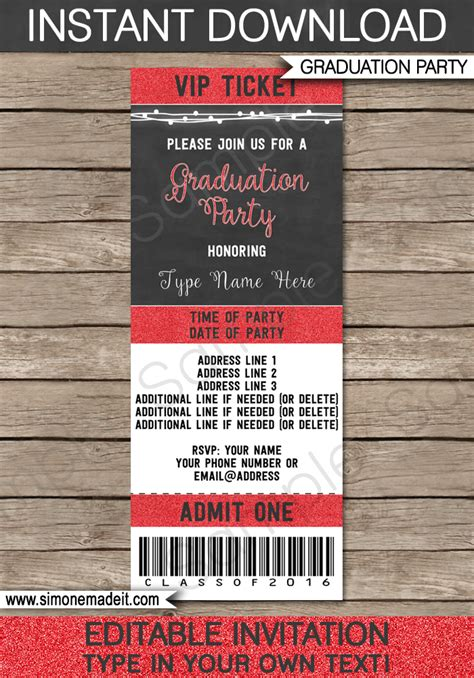 free printable graduation tickets graduation ticket invitation template