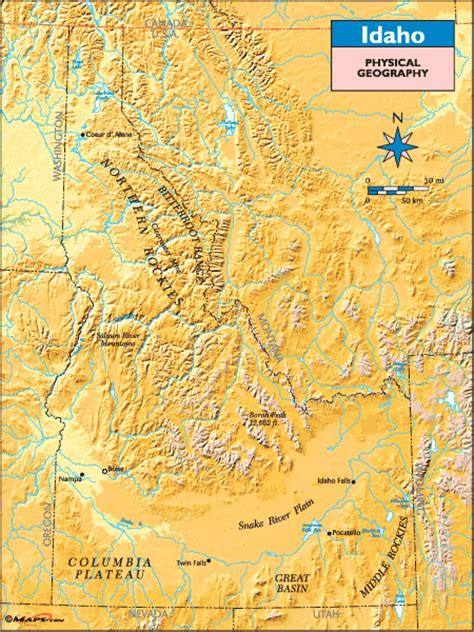idaho physical map idaho physical geography map by maps from maps