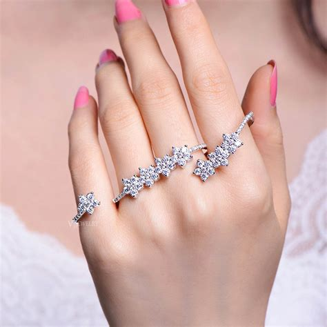 finger cubic zirconia rings 4 finger rings palm rings