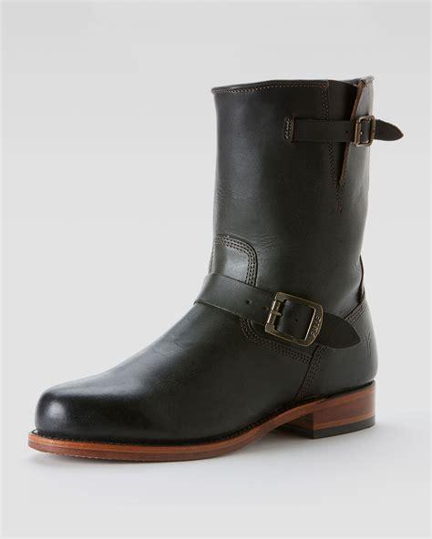 frye engineer boots frye arkansas engineer boot black in black for lyst