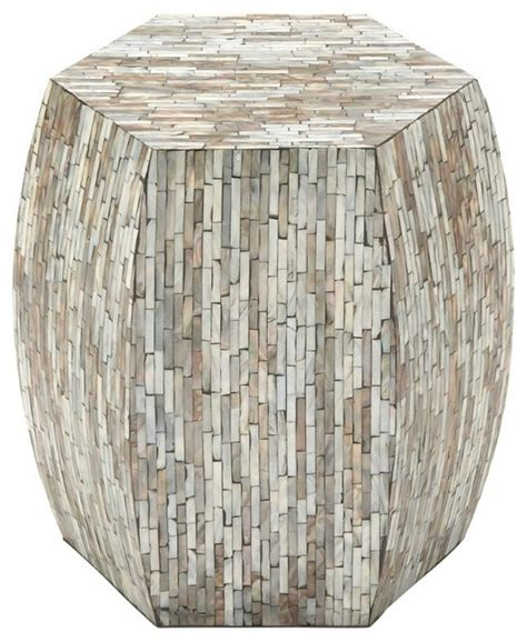 lovely wood shell inlay stool rustic accent and garden