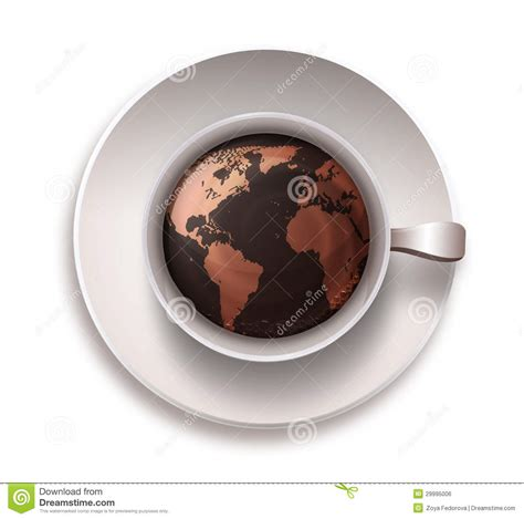 Coffee Cup With A World Map Royalty Free Stock Image   Image: 29995006