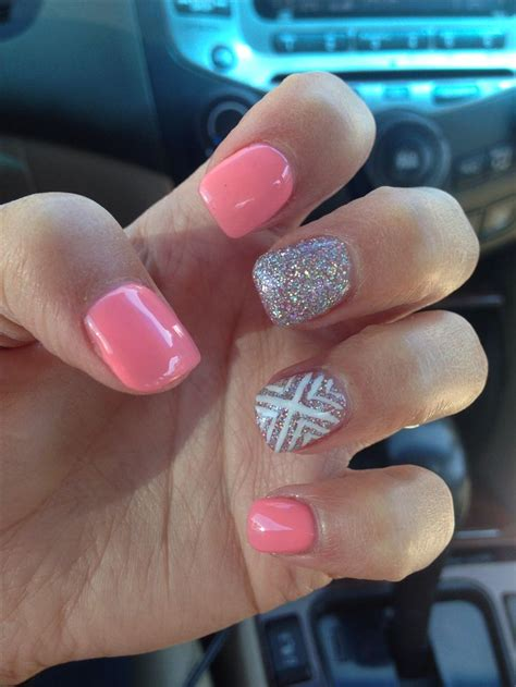 pattern acrylic nails cute silver peach white acrylic nail design be