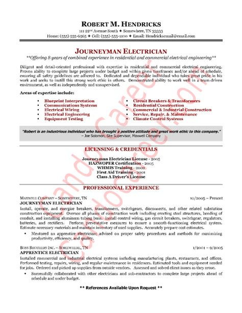 Resume For Journeyman Electrician by Electrician Resume Sle