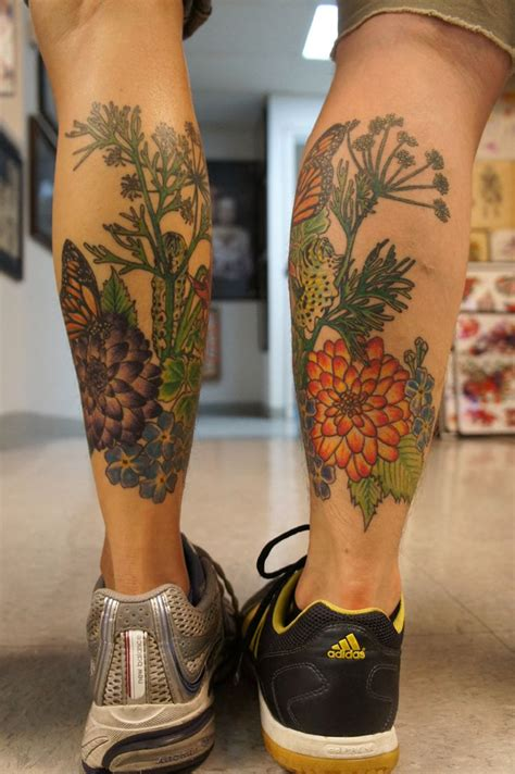 butterfly and flower tattoos flower butterfly leg