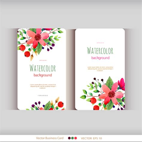 flower design name card beautiful watercolor flower business cards vector set 04
