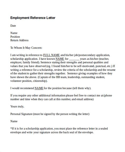 Reference Letter Exle Employment Reference Letter For Scholarship Application From Employer