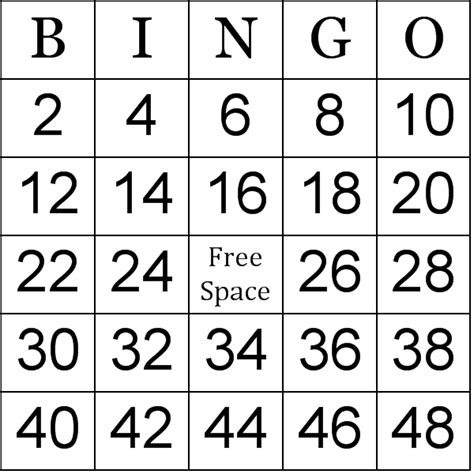 Bingo Card Template With Numbers by Even Numbers Bingo Cards