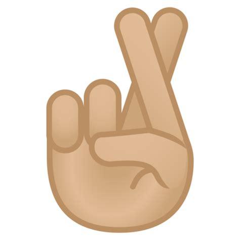 imagenes de emojis sacando el dedo dedos cruzados tono de piel claro medio emoji