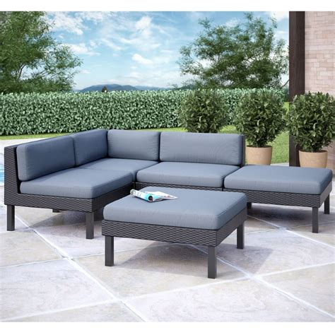 Chaise Lounge Sectional by Corliving Oakland 5 Pc Sectional With Chaise Lounge Patio