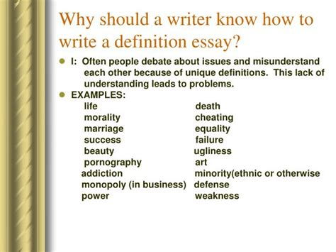 How To Write Definition Essay by Ppt Definition Essay By Dr Custureri Powerpoint Presentation Id 3715408