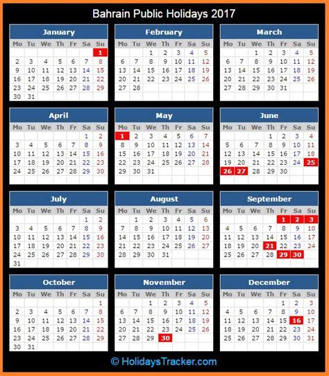Calendar 2018 Bahrain Bahrain Holidays 2017 Holidays Tracker