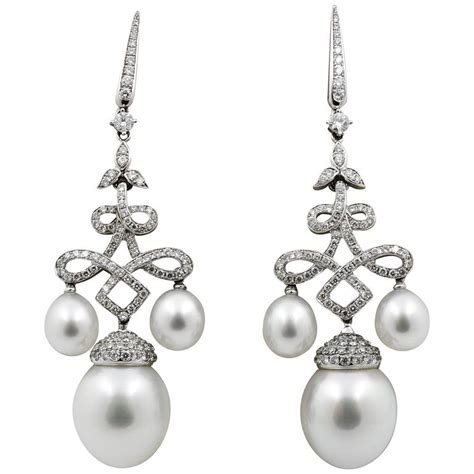 Gold Pearl Chandelier Earrings Classic South Sea Pearl Gold Chandelier Earrings For Sale At 1stdibs