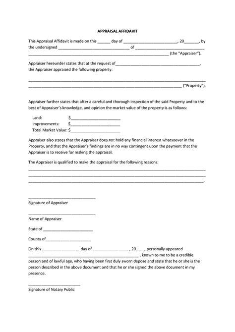 appealing appraisal affidavit form template sle