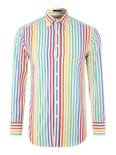 multi color shirt simon sleeved color stripe shirt in multicolor