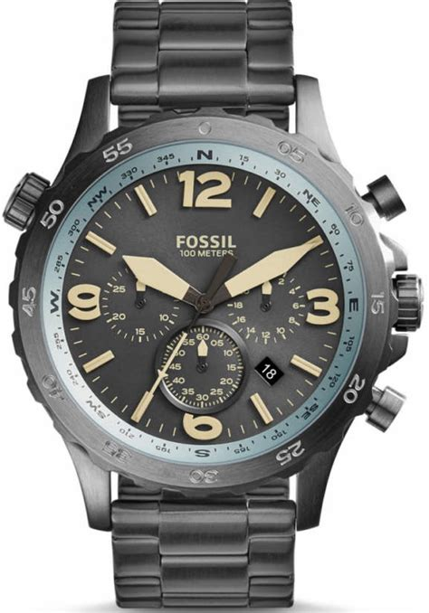 Nate Chronograph Gold Tone Stainless Steel s fossil nate compass chronograph gunmetal stainless