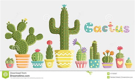 Poster Set Of 2 Tropical Leaves Cactus 2xa4 set of cacti stock vector image 47100587