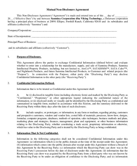 mutual non disclosure agreement form 10 free word pdf