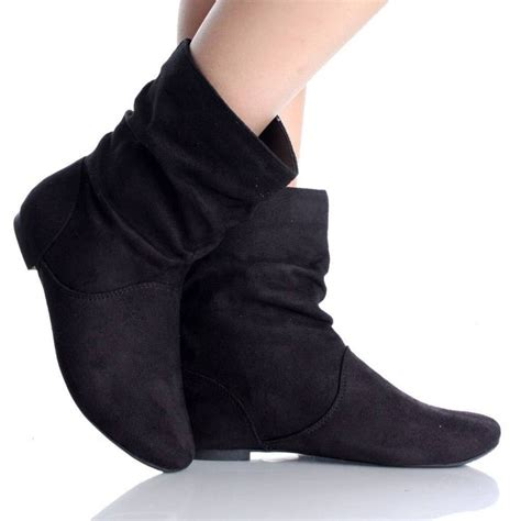 black flat ankle boots for black flat ankle boots winter slouch scrunch faux suede
