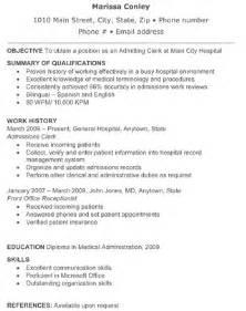 Resume For Hospital by Hospital Admitting Clerk Resume The Resume Template Site