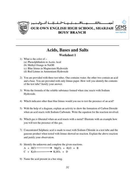Acids And Bases Worksheet 1 Answers by Acids Bases And Salts Worksheet Androidcellstores